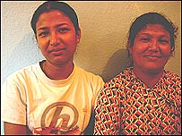 Reenu Maharjan (l) and her mother