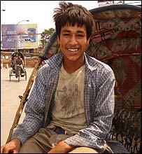 Cycle rickshaw driver in Kathmandu