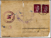 The envelope of Anton Igel's letter dated March 11 1945, marked with a swastika