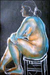 Nude drawing by artist Alison Ludlow