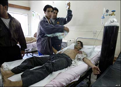 An injured man in hospital