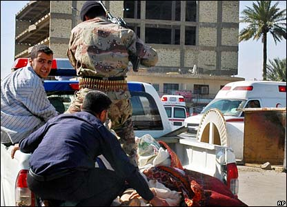 Injured Iraqis are taken to hospital