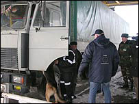 Checking lorry on Ukraine's border with Trans-Dniester