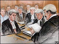 Court artist Elizabeth Cook's impression of Mr Justice Peter Smith giving his judgement