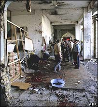 Surveying the damage at Buratha Mosque in Baghdad