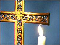 Church cross and candle