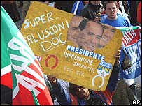 Supporters of Silvio Berlusconi with banners and flags in Naples