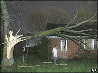 Man surveys the damage to his home in Tennessee after a tornado