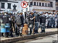 Riot police in Kathmandu on Saturday