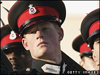 Prince Harry on parade at Sandhurst