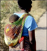 Zimbabwean woman with child