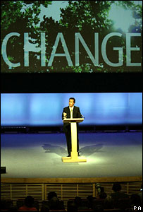 David Cameron addresses the Tory spring conference in Manchester