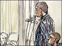Jamal Derrar (standing) and Tony Rocca in court