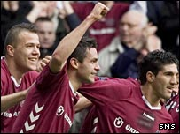 Michal Pospisil (centre) celebrates his goal at Tynecastle