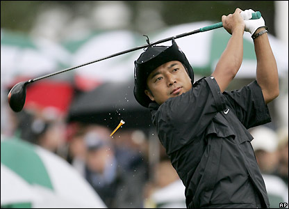 Japan's Shingo Katayama plays a tee shot