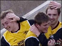 Colin Healy (right) celebrates scoring Livingston's winning goal