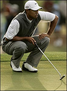 Tiger Woods on the second green