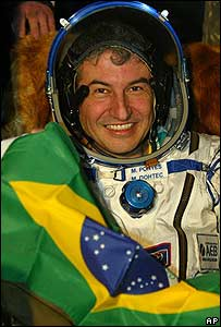 Marcos Pontes tras aterrizaje