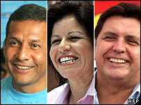 Presidential candidates: Ollanta Humala, Lourdes Flores and Alan Garcia