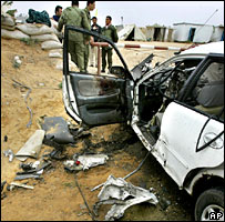 Car hit by a shell in northern Gaza, Sunday 9 April