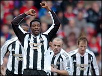 Shola Ameobi celebrates his goal