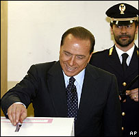 PM Silvio Berlusconi casts his ballot in Milan