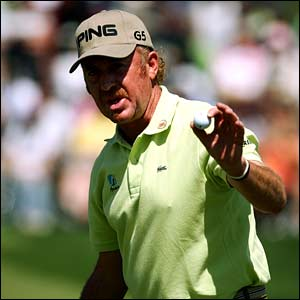 Miguel Angel Jimenez saluted the crowd on the second