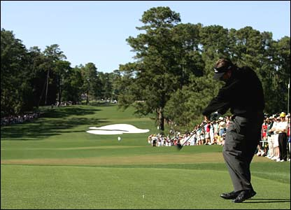 Mickelson drives off the eighth tee
