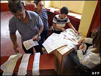 Elections officials count votes in Peru