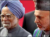 Indian Prime Minister Manmohan Singh with Afghan President Hamid Karzai in Delhi