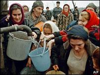Чеченцы в лагере беженцев в Ингушетии, 1999 год