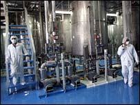 File photograph of Iranian nuclear technicians