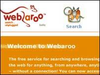 Webaroo homepage, Webaroo