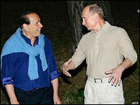 Berlusconi and Putin in Black Sea resort of Sochi, 2005