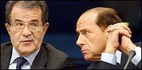 Romano Prodi and Silvio Berlusconi