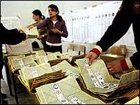Ballots are counted in Rome