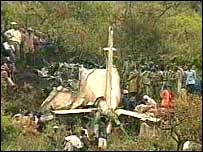 KTN screen grab of the crash site