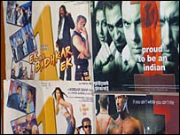 Posters of Bollywood films in a Kabul cinema hall