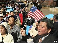 Manifestantes en la ciudad de Filadelfia.