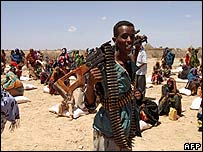 Gunman in a Somalia aid area this March