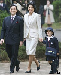 Princess Aiko with her parents on the way to school