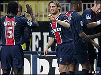 Paris Saint Germain players celebrating a goal