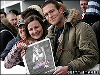 Madonna fans Victoria Naish and Rob Doman queue for concert tickets outside London's Wembley Arena