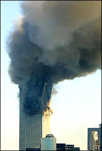 South tower of WTC collapsing