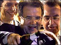 Romano Prodi celebrates