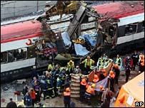 Scene of one of the Madrid train bomb attacks