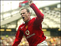 Wayne Rooney celebrates goal against Arsenal