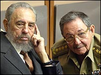 Fidel Castro with his brother Raul