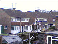 Partially collapsed house in Ridley Road, Bromley. Pic by Jake Gordon