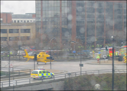 Helicopter in road by the scene of the Milton Keynes scaffolding collapse. Photo by Steve Harding